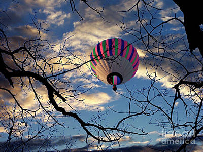 Photograph - Hot Air Balloon Floating Across The Night Sky by Jenness Asby