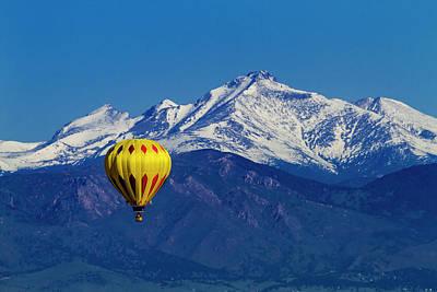 Hot Air Balloon In Rocky Mountains Art Print