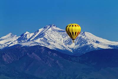 Hot Air Balloon Over Mountains Art Print