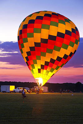 Western Art - Hot Air balloon perpares to early morning lanch. by Anthony Totah