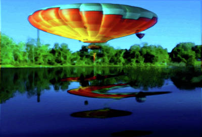 Photograph - Hot Air Balloon Reflections Along The Androscoggin River by Mike Breau