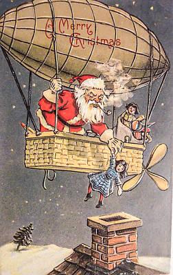 Ephemera Photograph - Hot Air Balloon Santa Claus by Black Brook Photography