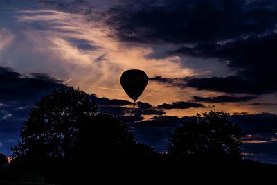 Hot Air Balloon Silhouette At Dusk Art Print