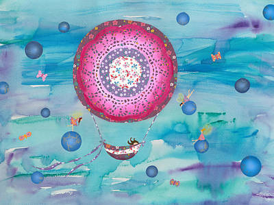 Little Girl Mixed Media - Hot Air Balloon, Sleeping Girl And Fairies by Sukilopi Art