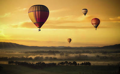 Photograph - Hot Air Balloon Sunset Landscape Art by Wall Art Prints