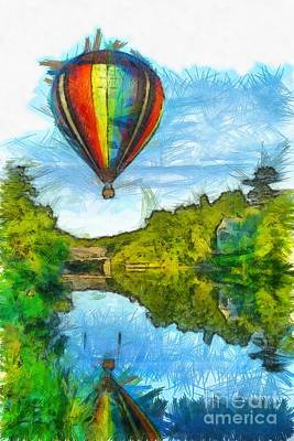Hot Air Balloon Woodstock Vermont Pencil Art Print by Edward Fielding