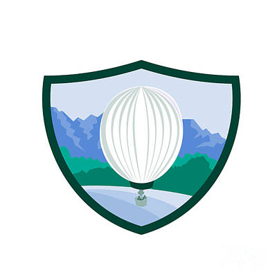 Inflatable Digital Art - Hot Air Ballooning Sea Tree Mountains Crest Retro by Aloysius Patrimonio