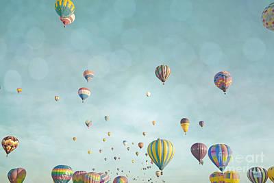 Photograph - Hot Air Balloons Aqua Sky Landscape by Andrea Hazel Ihlefeld