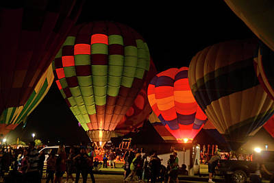 Photograph - Hot Air Balloons At Night October 28, 2017 #1 by Brian Lockett
