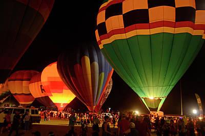 Photograph - Hot Air Balloons At Night October 28, 2017 #2 by Brian Lockett
