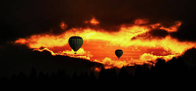 Photograph - Hot Air Balloons At Sunrise by Gerhard Gellinger