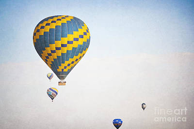 Photograph - Hot Air Balloons Blue Sky Dreamy Landscape by Andrea Hazel Ihlefeld