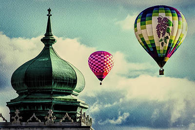 Photograph - Hot Air Balloons Float Over Lewiston Maine by Bob Orsillo
