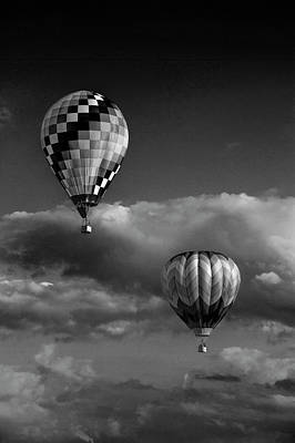 Photograph - Hot Air Balloons In , Black And White At A Balloon Festival by Randall Nyhof