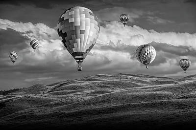 Photograph - Hot Air Balloons In Black And White Over Fields by Randall Nyhof