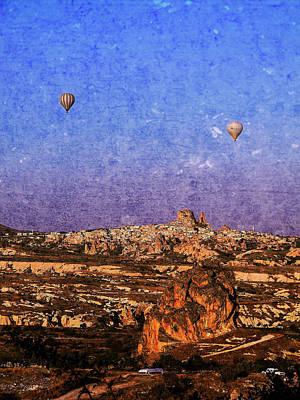 Mixed Media - Hot Air Balloons In Cappadocia by Helissa Grundemann