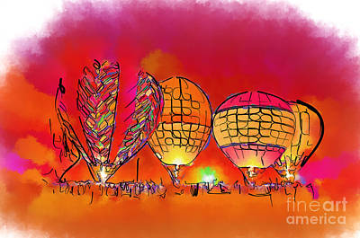 Digital Art - Hot Air Balloons In Red by Kirt Tisdale