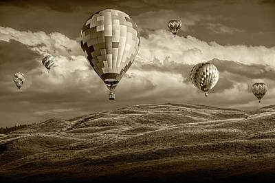 Photograph - Hot Air Balloons In Sepia Tone Over Rolling Hills by Randall Nyhof