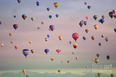 Photograph - Hot Air Balloons Mountain Sky by Andrea Hazel Ihlefeld