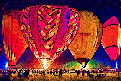 Digital Art - Hot Air Balloons Night Festival In Abstract by Kirt Tisdale