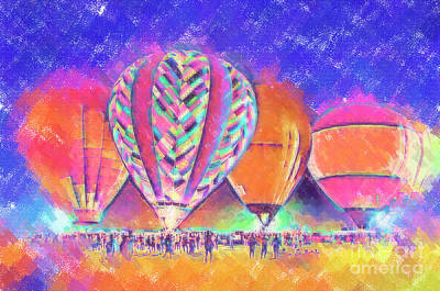 Digital Art - Hot Air Balloons Night Festival In Pastel by Kirt Tisdale
