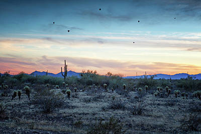 Photograph - Hot Air Balloons Outside Phoenix At Sunset by Belinda Greb
