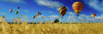 Photograph - Hot Air Balloons Over A Wheat Field by Pixabay