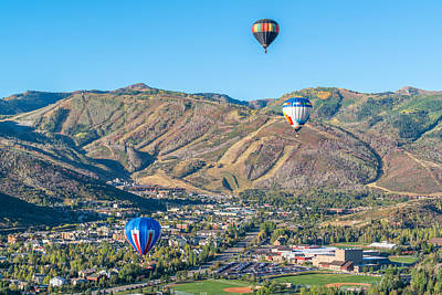 Hot Air Balloon Photograph - Hot Air Balloons Over Park City In Autumn by James Udall