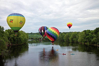 Photograph - Hot Air Balloons Over The River by Ed Fletcher