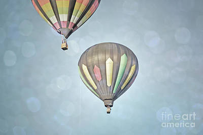 Photograph - Hot Air Balloons Pair Sky Landscape by Andrea Hazel Ihlefeld