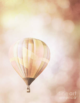 Photograph - Hot Air Balloons Peach Bokeh Landscape by Andrea Hazel Ihlefeld
