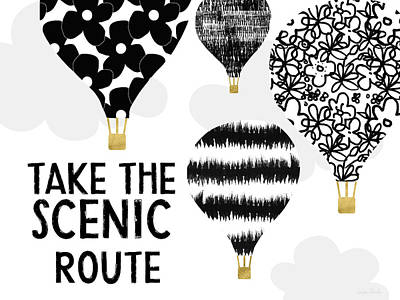 Hot Air Balloons Scenic Route- Art By Linda Woods Art Print