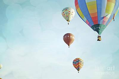 Photograph - Hot Air Balloons Sky Bokeh Landscape by Andrea Hazel Ihlefeld