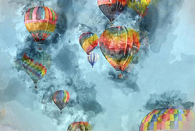 Baloon Painting - Hot Air Balloons Digital Watercolor On Photograph by Brandon Bourdages