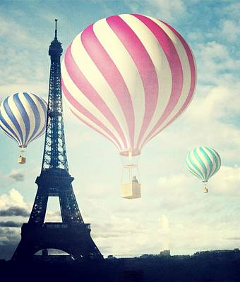 Best Sellers - Surrealism Royalty-Free and Rights-Managed Images - Hot Air Balloons in Paris by Marianna Mills