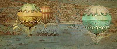 Italy Map Digital Art - Hot Air Baloons Over Venus by Jeff Burgess
