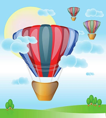 Hot Air Color Balloons Flying In Sunny Sky Art Print