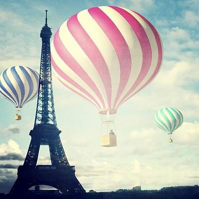 Photograph - Hot Air Balloons In Paris by Marianna Mills