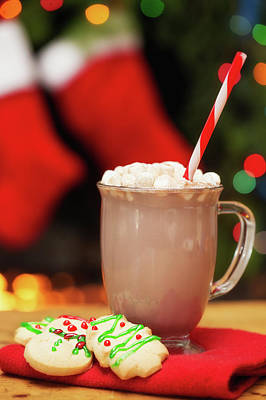 Marshmallow Photograph - Hot Cocoa And Christmas Cookies by Susan Schmitz