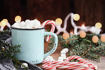 Hot Cocoa With Marshmallows And Candy Canes Art Print by Stephanie Frey