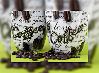 Abstract Shapes Janice Austin Royalty Free Images - Hot coffee mug and colombian grain series 1 Royalty-Free Image by Pedro Cardona Llambias