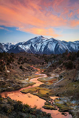 Photograph - Hot Creek Fiery Sunset by Johnny Adolphson