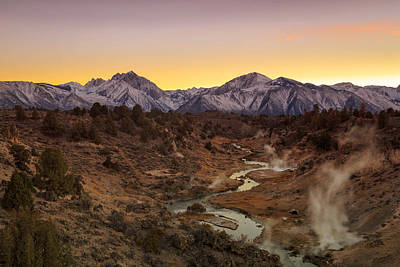Hot Creek Photograph - Hot Creek Sunset by Johnny Adolphson