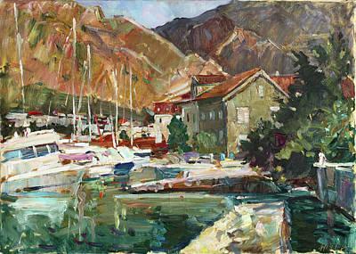 Montenegro Painting - Hot Day At The Marina by Juliya Zhukova