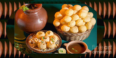 Photograph - Hot Dip Gole Guppa Or Pani Purees Indian Festive Snacks Popped Thin Crust Balls Spicy Water And Chat by Navin Joshi