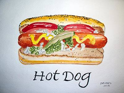 Hot Dog Art Print by Carol Grimes