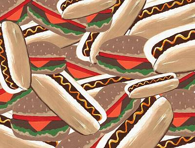 Hot Dogs Mixed Media - Hot Dogs And Hamburgers by Kathleen Sartoris