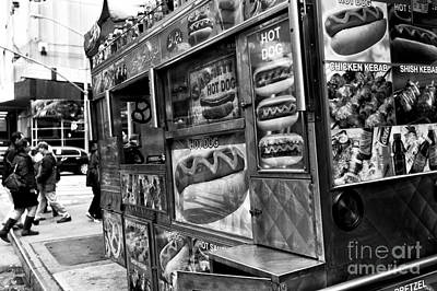Hot Dogs Photograph - Hot Dogs On The Corner In Nyc Mono by John Rizzuto