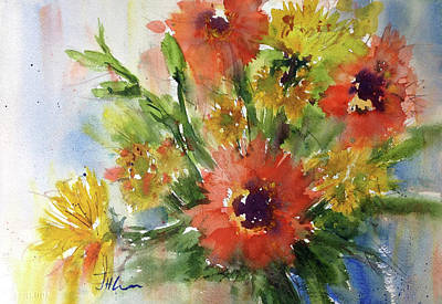 Painting - Hot Gerbers by Judith Levins