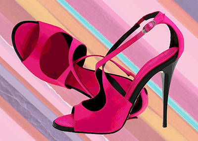 Stilettos Painting - Hot Momma's Hot Pink Pumps by Elaine Plesser